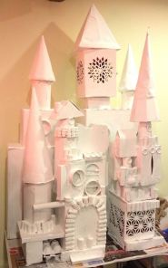 After constructing the castle, i applied a layer of white primer before applying acrylic