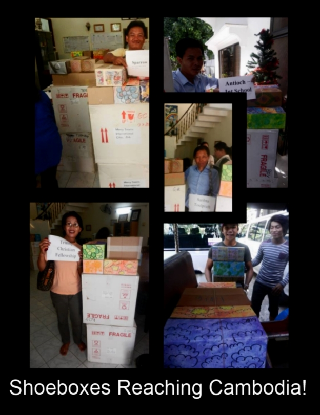 Finally the shoeboxes reached Cambodia! YEAH!!!!!!!!!!