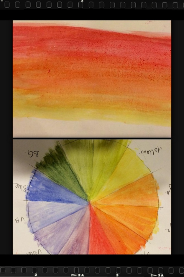 Every student required first to learn to paint the colour wheel and colour gradient