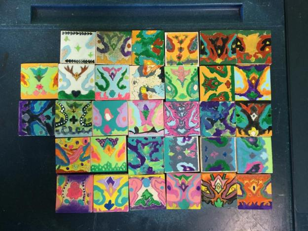 These are just the smaller 5cm by 5cm practise tiles for the students to warm up
