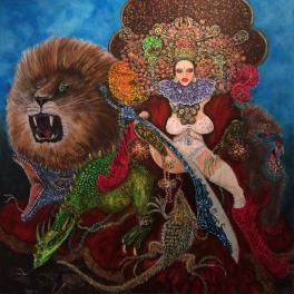 """""""Dragonlady And Friends"""", acrylic on canvas, 122cmX122cmX3cm"""