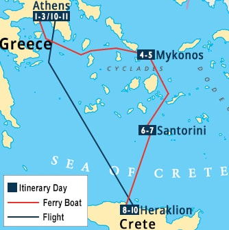Greece-Athens-Mykonos-Santorini-Crete-Map